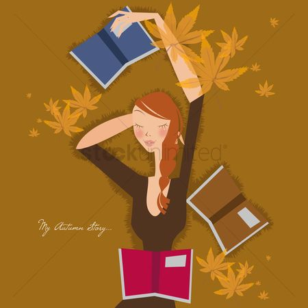 Leaf : Girl laying down with books