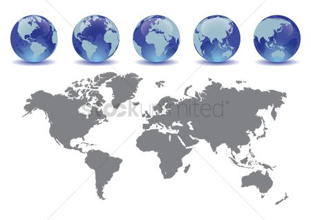 Icons : Globes with a map
