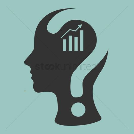 Brain : Human head with question mark and business growth