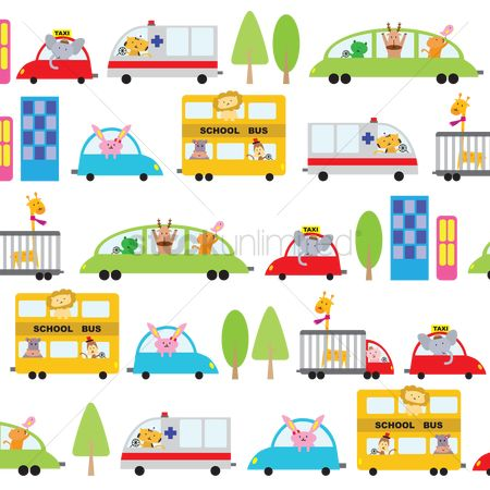 School : Illustrated cartoon vehicles background design