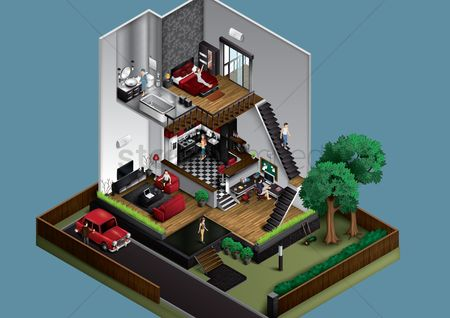 Interior : Isometric home interiors