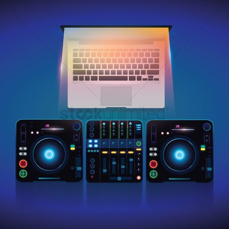 Music : Laptop and dj mixer