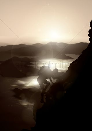 Water : Man climbing on mountain