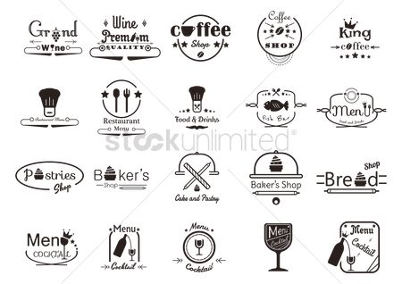 Vectors : Menu design and shop sign collection