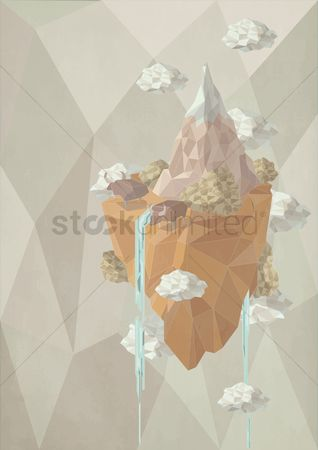 Water : Polygonal waterfall world