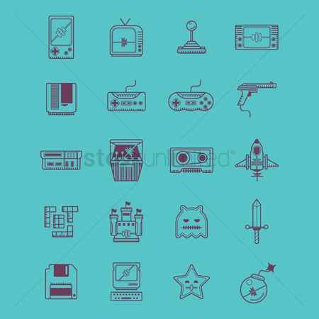 Vintage : Retro video game icons
