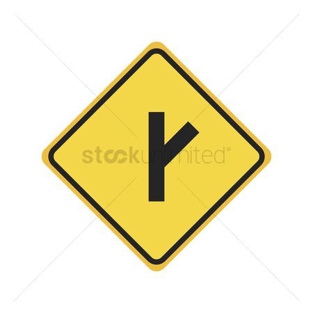Y Intersection Sign Free Crossroad Stock V...
