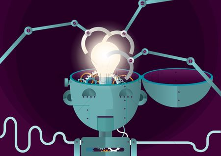 Brain : Robot with bulb