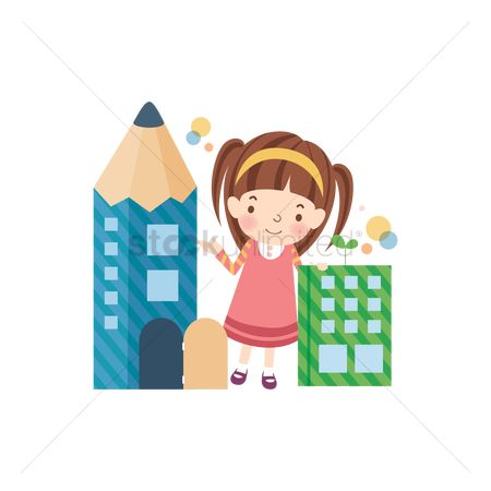 Children : School girl with a pencil building
