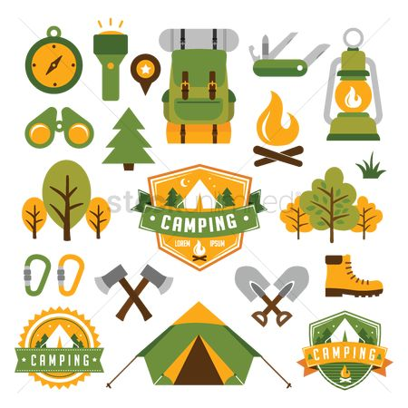 Vectors : Set of camping icons