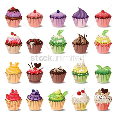 Food : Set of cupcake collection