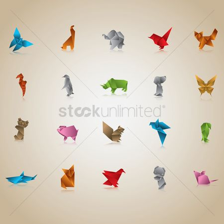 Icon : Set of origami animals and birds
