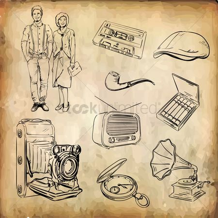 Vintage : Set of retro icons