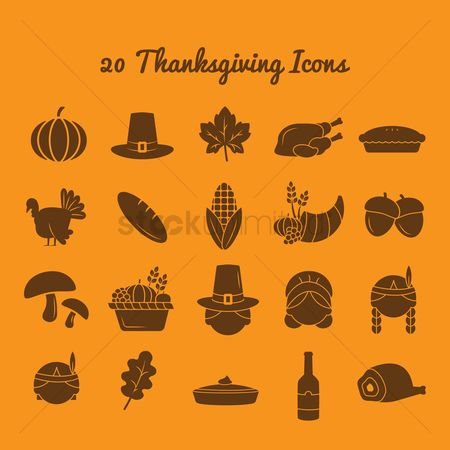 Vectors : Set of thanksgiving icons