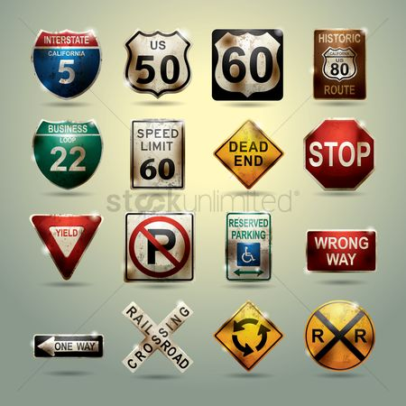 Grunge : Set of usa road signs