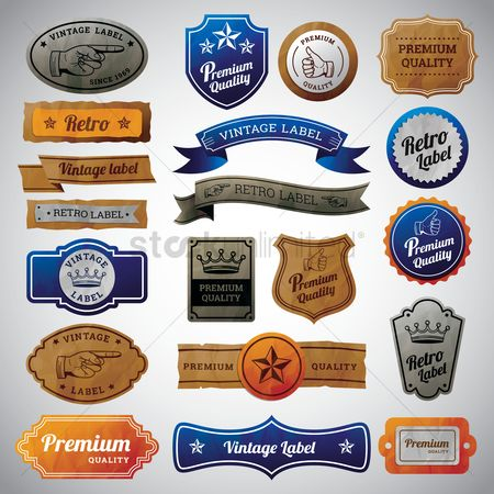 Star : Set of vintage labels