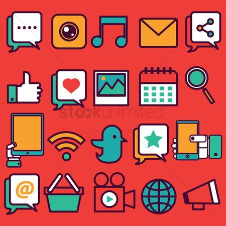 Shopping : Social media icons set