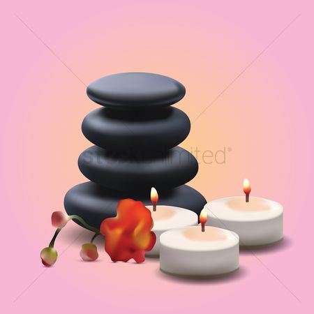 Spa : Stack of stones and candles