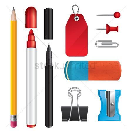 Icons : Stationery supplies set