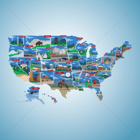 Buildings Landmarks : Usa state map