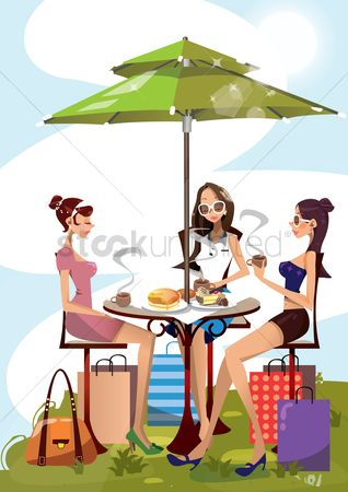 Shopping : Women having a meal after shopping