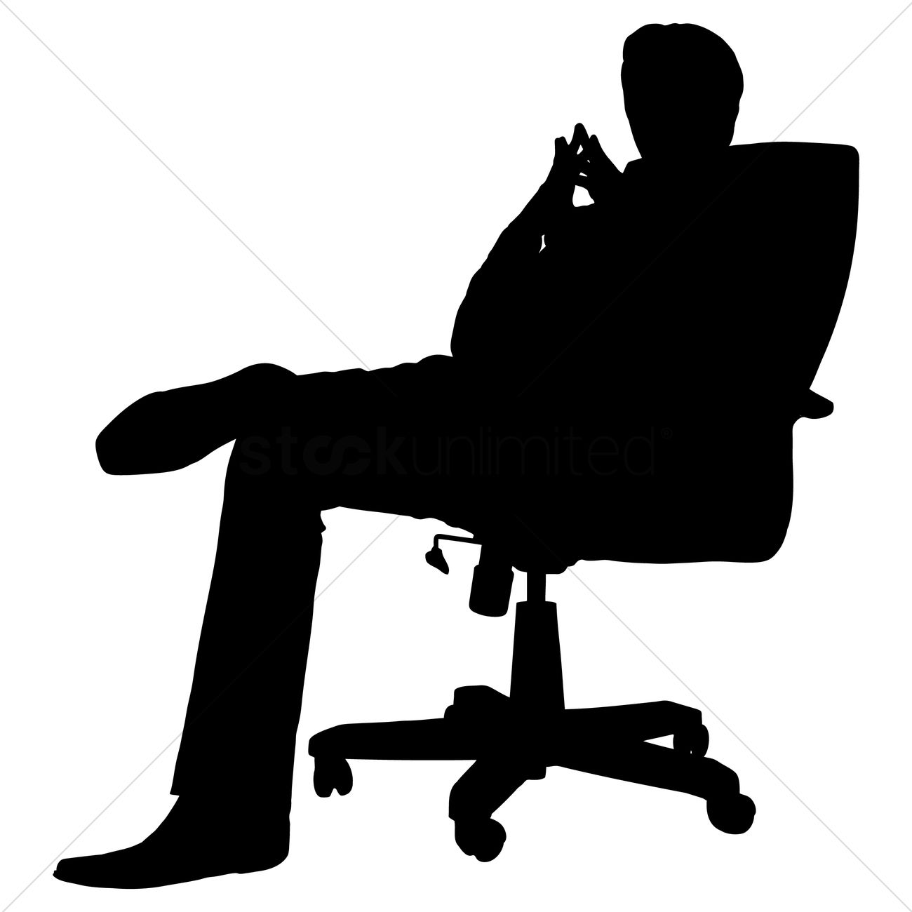 Businessman Sitting On A Chair Silhouette Vector Image