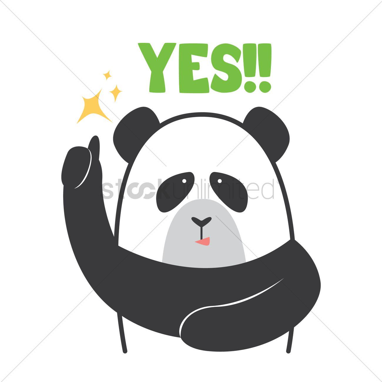 Cartoon Panda Saying Yes Vector Image 1958768