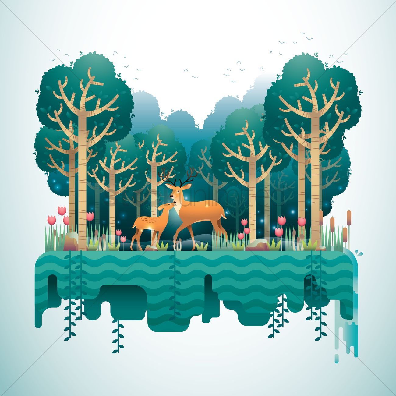 forest landscape vector image 1488988 stockunlimited free clipart ocean waves free ocean clip art black and white