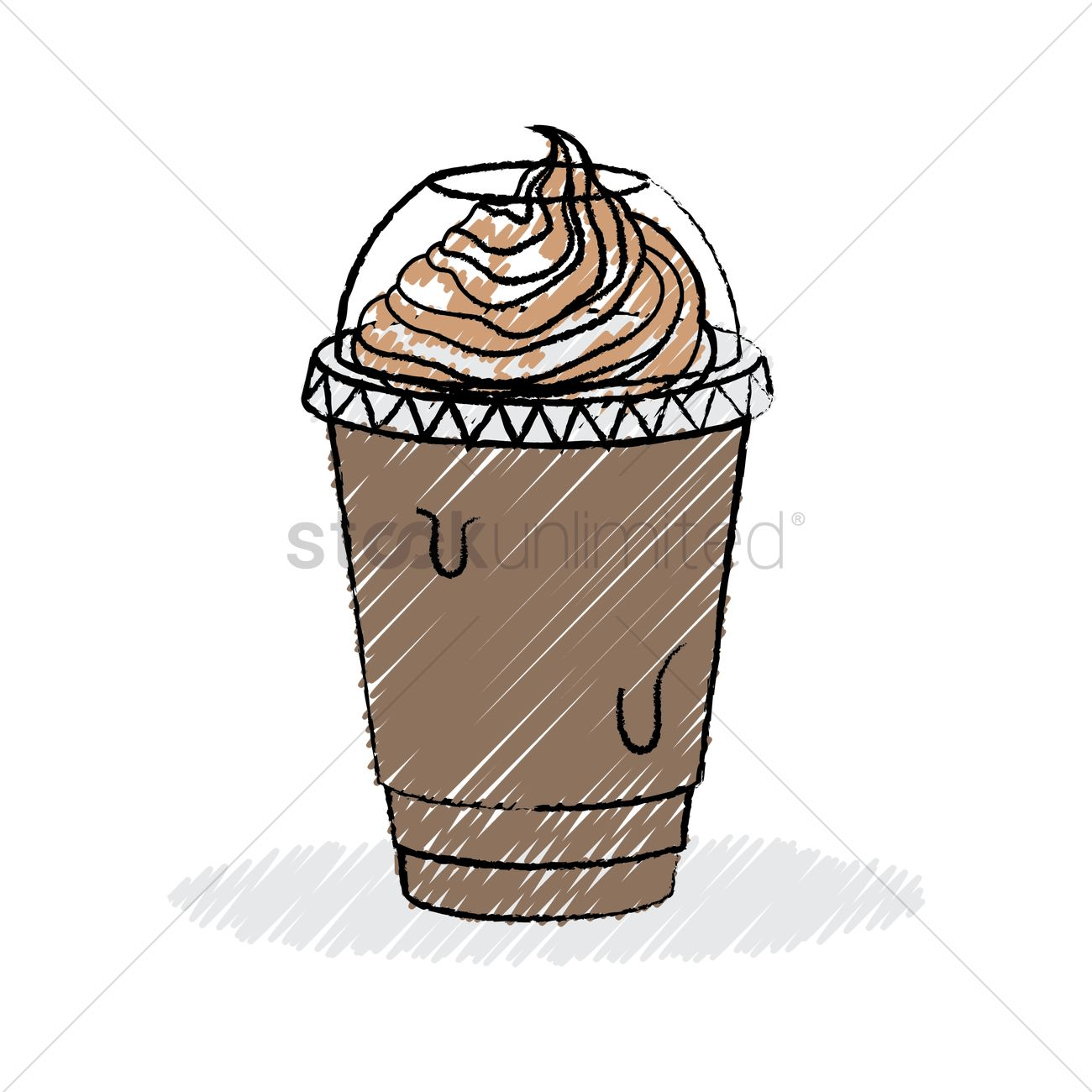 Coffee Take Away Illustration: Ice Blended Coffee With Cream Vector Image
