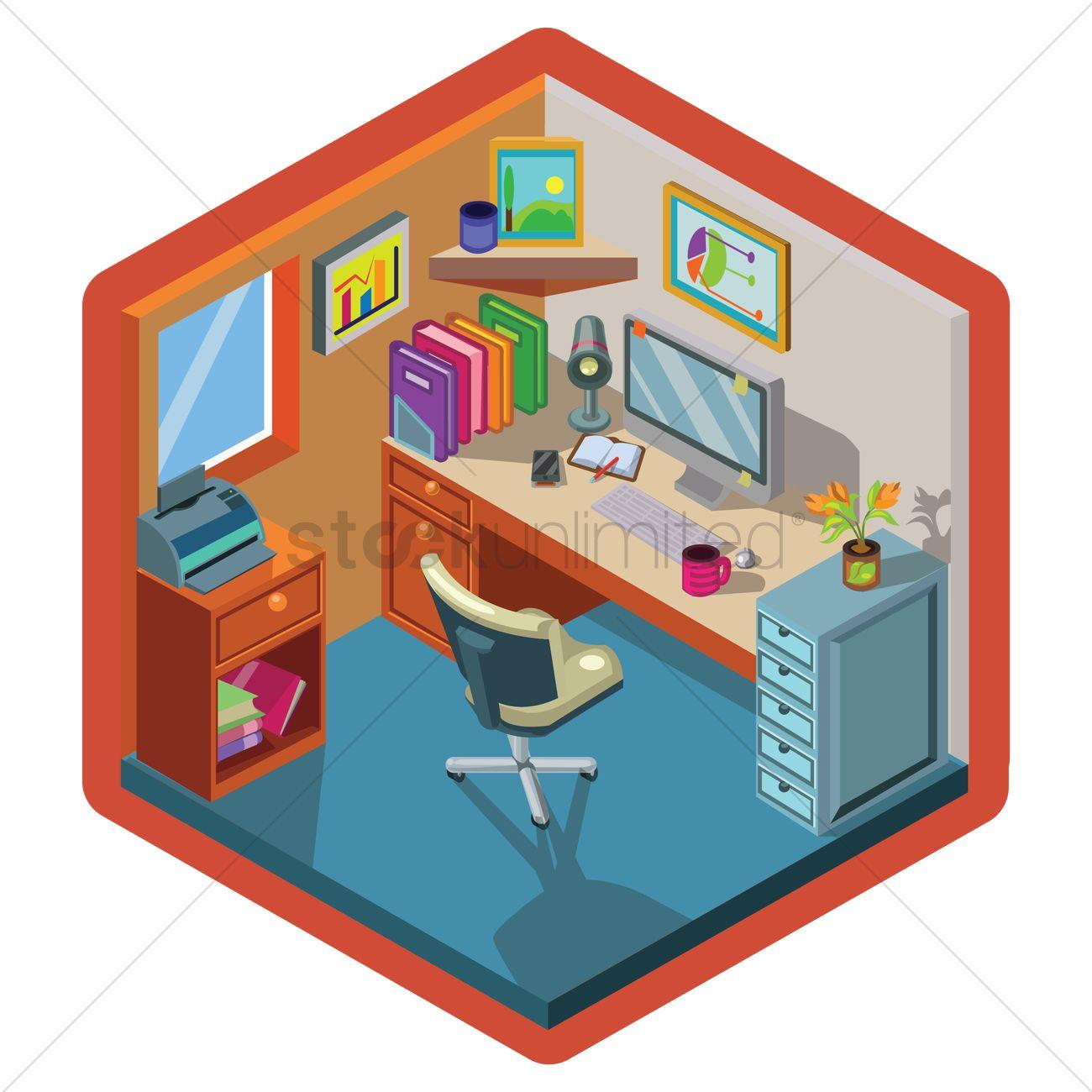 Isometric Office Interior Design Vector Graphic