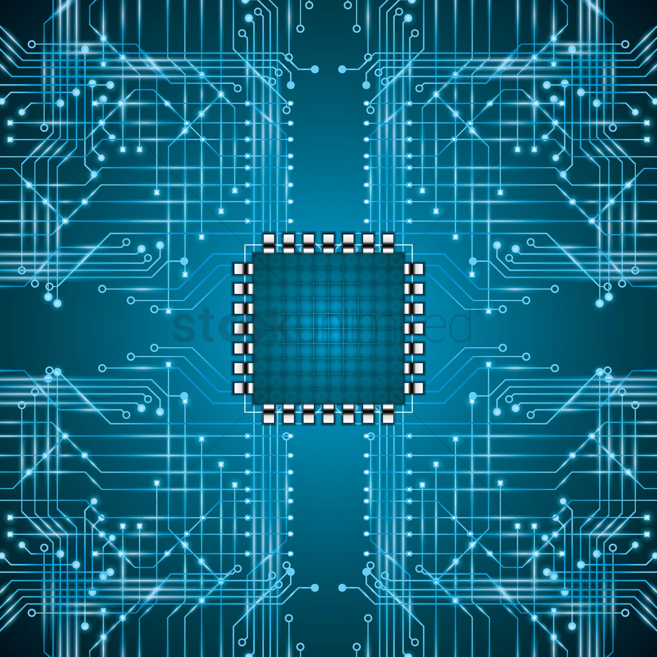 Microchip On Circuit Board Wallpaper Vector Image