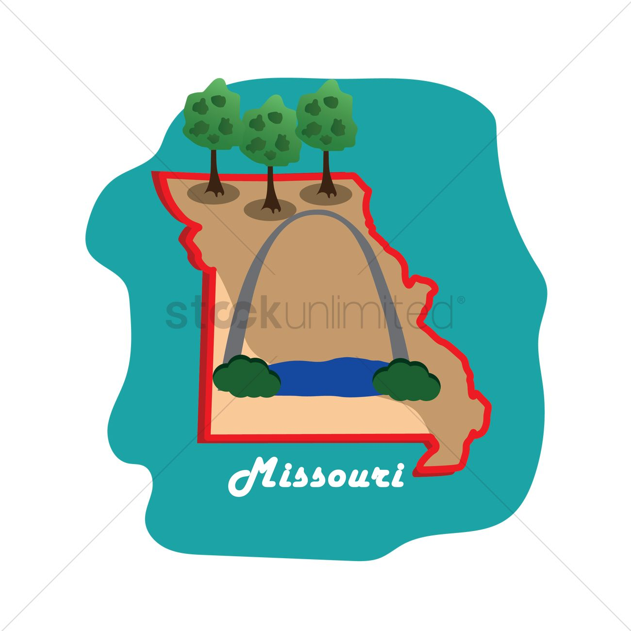 Missouri State Map With St Louis Gateway Arch Vector Graphic