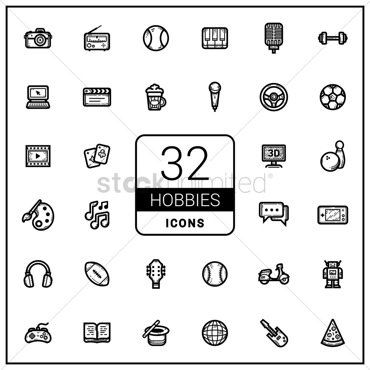 Set Of Hobby Icons Vector Image 1765588 Stockunlimited