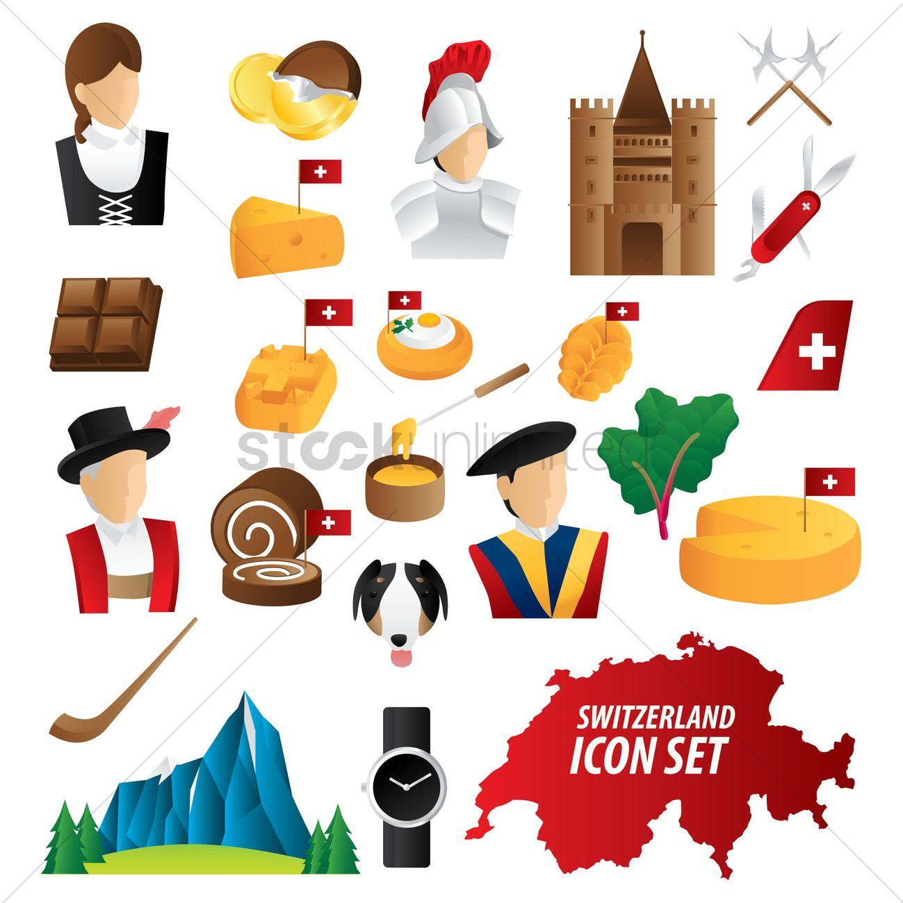 Set Of Switzerland Icons Vector Image 2035132