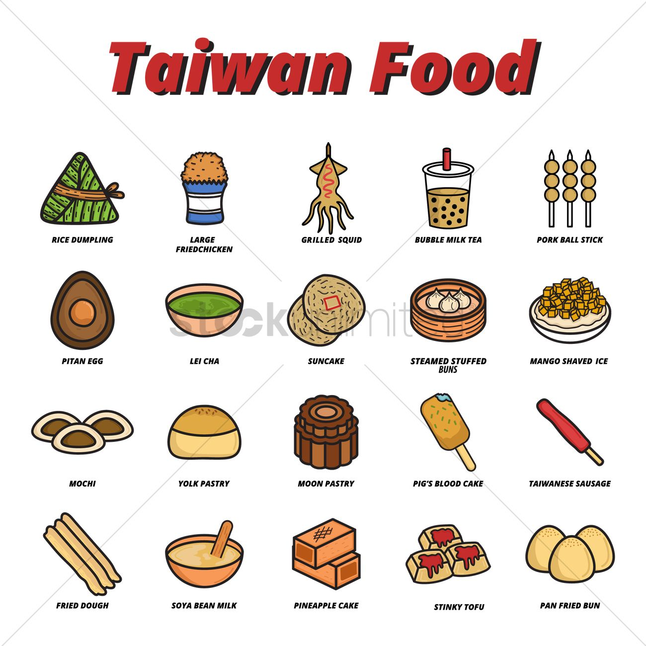 Set Of Taiwanese Food Icons 2035540 on set design
