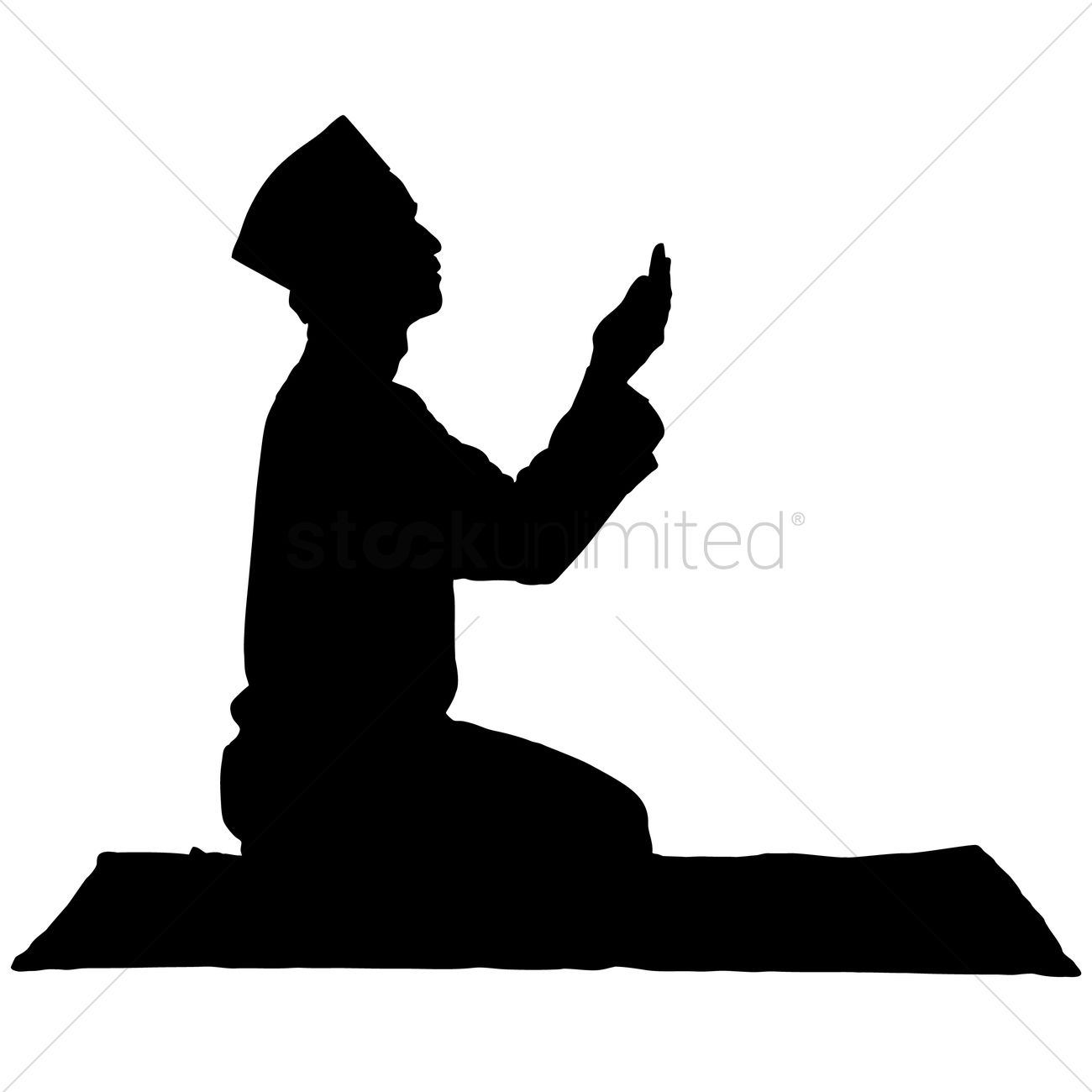 Silhouette Of A Man Praying Vector Image 1253820
