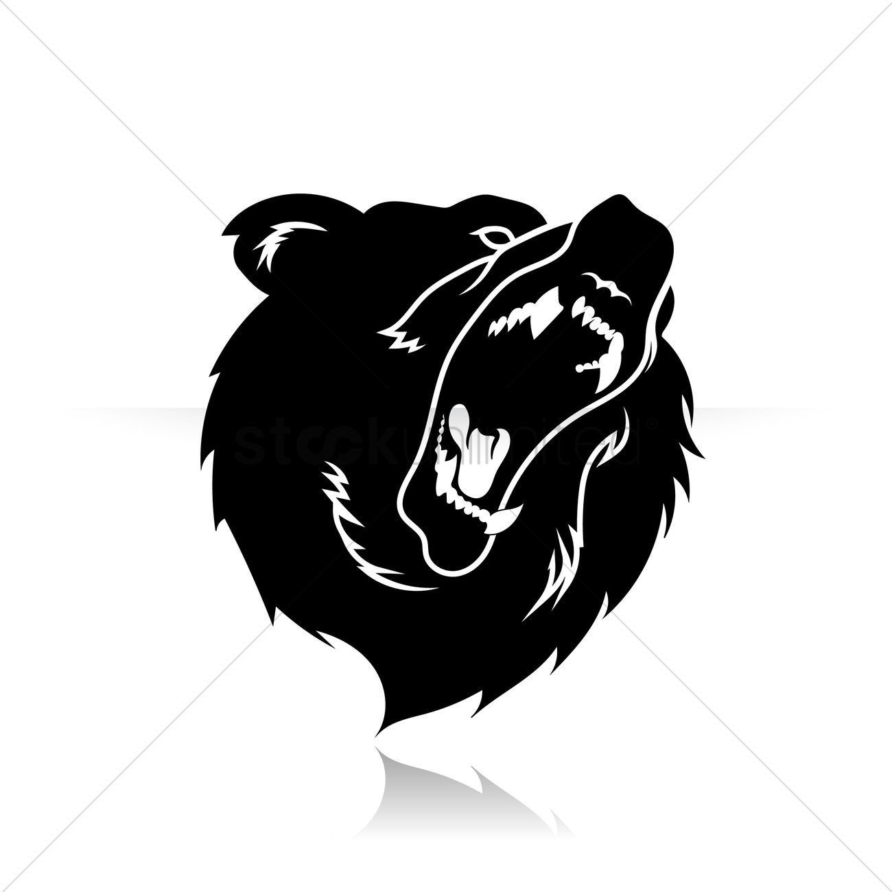 Silhouette Of Bear Face Vector Image 1438020