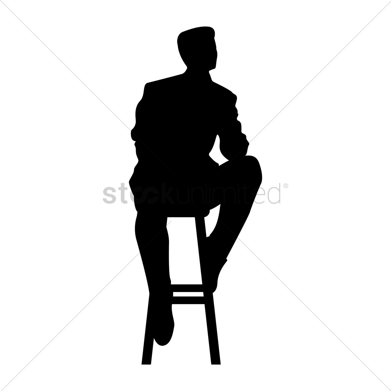 Silhouette Of Man Sitting On Stool Vector Image 1632976