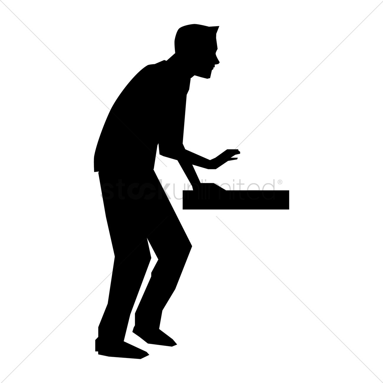 Silhouette of man standing with hand on table Vector Image ...