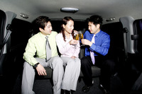 Business people drinking wine in the car