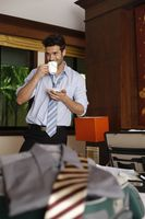 Businessman drinking a cup of coffee