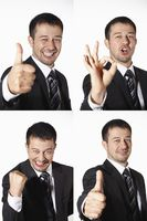 Businessman with various expressions