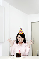 Businesswoman celebrating her birthday