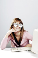 Businesswoman wearing spectacles