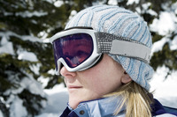 Close up of a woman wearing ski goggles