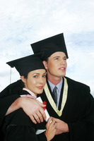 Couple in graduation robe