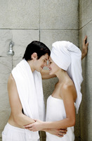 Couple sharing intimate moment in the bathroom