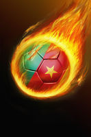 Flaming cameroon soccer ball