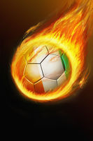 Flaming ivory coast soccer ball