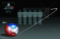 Free kick infographic with chile soccer ball